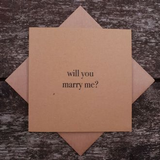 Kraft Wedding Engagement Card - 'Will You Marry Me?' - Urban Kraft Collection